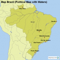 Map Brazil (Political Map with Waters)