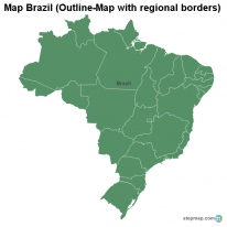 Map Brazil (Outline-Map with regional borders)