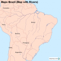 Maps Brazil (Map with Rivers)