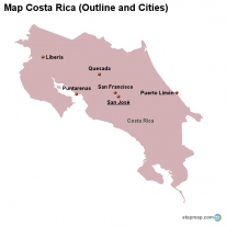 Map Costa Rica (Outline and Cities)