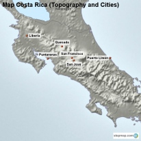 Map Costa Rica (Topography and Cities)