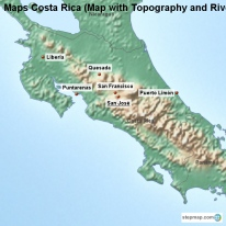 Maps Costa Rica (Map with Topography and Rivers)
