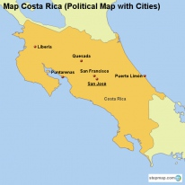 Map Costa Rica (Political Map with Cities)
