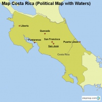 Map Costa Rica (Political Map with Waters)