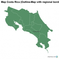 Map Costa Rica (Outline-Map with regional borders)