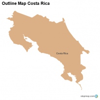 Outline Map Costa Rica