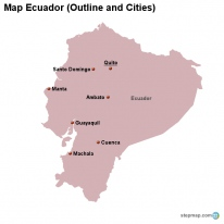 Map Ecuador (Outline and Cities)