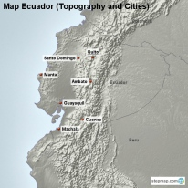 Map Ecuador (Topography and Cities)