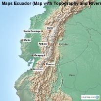 Maps Ecuador (Map with Topography and Rivers)