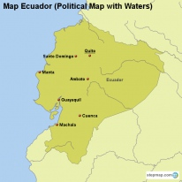 Map Ecuador (Political Map with Waters)