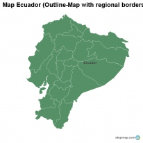 Map Ecuador (Outline-Map with regional borders)