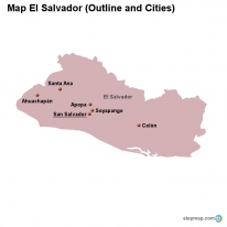 Map El Salvador (Outline and Cities)