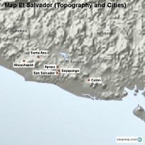 Map El Salvador (Topography and Cities)