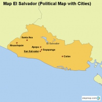 Map El Salvador (Political Map with Cities)
