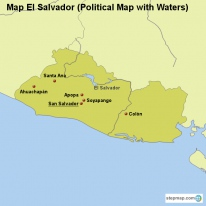 Map El Salvador (Political Map with Waters)
