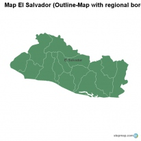 Map El Salvador (Outline-Map with regional borders)