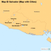 Map El Salvador (Map with Cities)