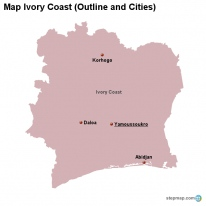 Map Ivory Coast (Outline and Cities)