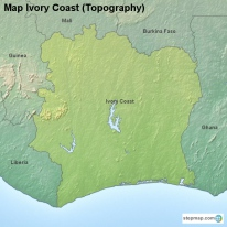 Map Ivory Coast (Topography)