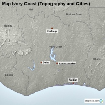 Map Ivory Coast (Topography and Cities)