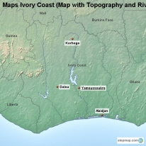 Maps Ivory Coast (Map with Topography and Rivers)