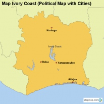 Map Ivory Coast (Political Map with Cities)