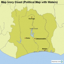 Map Ivory Coast (Political Map with Waters)