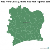 Map Ivory Coast (Outline-Map with regional borders)