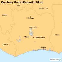 Map Ivory Coast (Map with Cities)