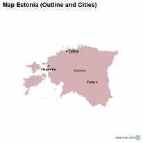 Map Estonia (Outline and Cities)