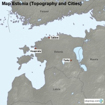 Map Estonia (Topography and Cities)