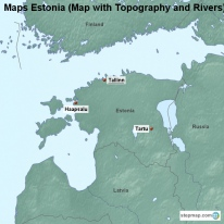 Maps Estonia (Map with Topography and Rivers)