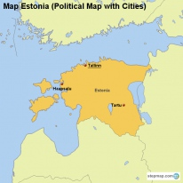 Map Estonia (Political Map with Cities)