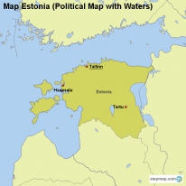 Map Estonia (Political Map with Waters)