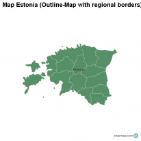 Map Estonia (Outline-Map with regional borders)