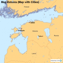 Map Estonia (Map with Cities)