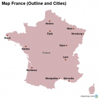 Map France (Outline and Cities)