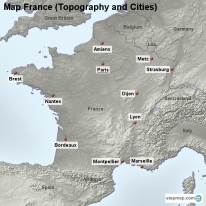 Map France (Topography and Cities)