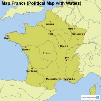 Map France (Political Map with Waters)