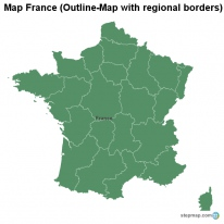Map France (Outline-Map with regional borders)