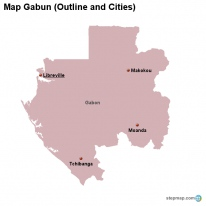 Map Gabun (Outline and Cities)