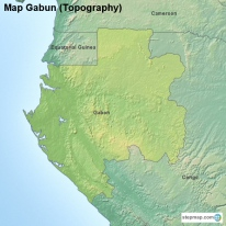 Map Gabun (Topography)