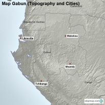 Map Gabun (Topography and Cities)
