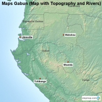Maps Gabun (Map with Topography and Rivers)