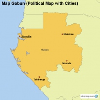 Map Gabun (Political Map with Cities)