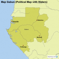 Map Gabun (Political Map with Waters)