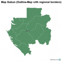 Map Gabun (Outline-Map with regional borders)