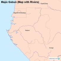 Maps Gabun (Map with Rivers)