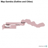 Map Gambia (Outline and Cities)