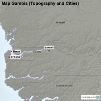 Map Gambia (Topography and Cities)